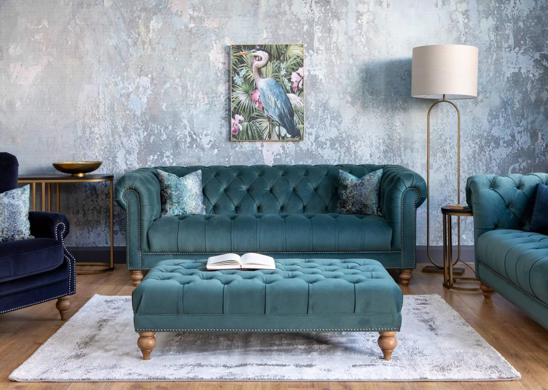 Adare Teal Velvet Sofa Lookbook