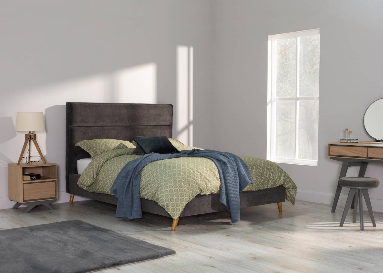 Ebony 6ft Grey Velvet Bedframe & Brunel Oak Lookbook