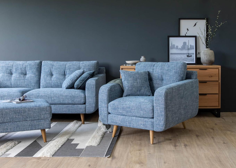 New York Blue Fabric Armchair Lookbook