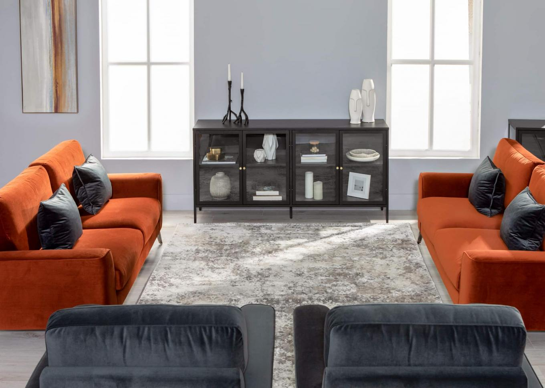 Megan 3 & 2 Rust Sofa with Carmel Sideboard Lookbook