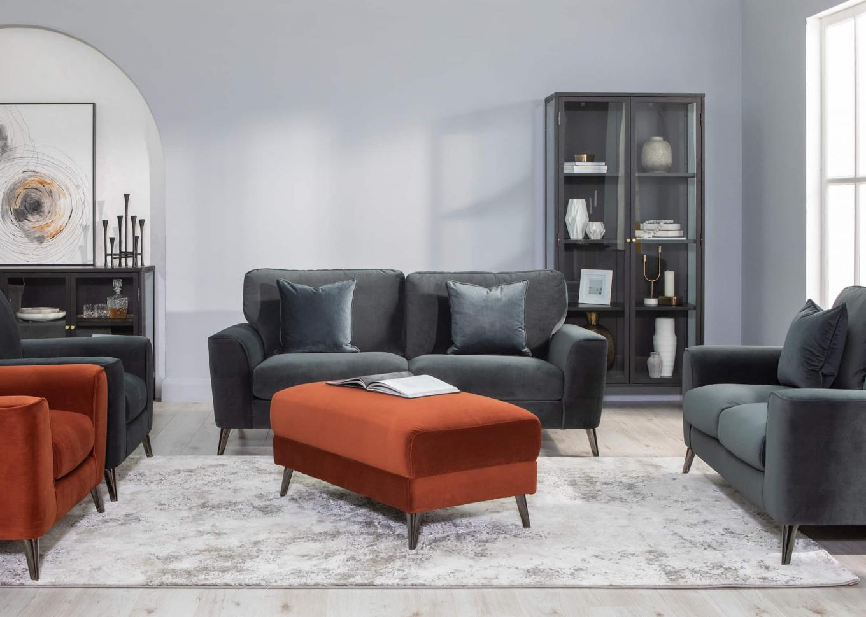 Megan Rust Armchair & Lg Footstool Carmel Display Lookbook
