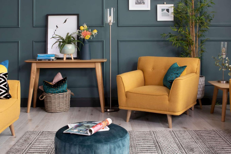 Capri Mustard Armchair with Rho Console Lookbook