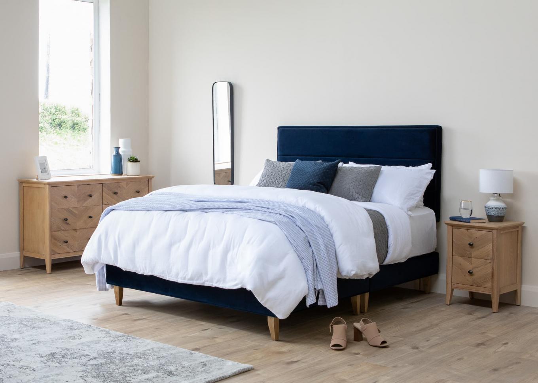 Ebony 5ft Blue Velvet Bed Base & Headboard Lookbook