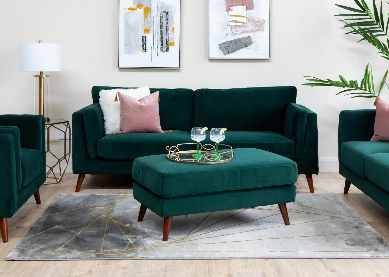 Bellini Green Sofa & Large Footstool Lookbook