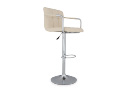 Cream Faux Leather and Chrome Bar Stool Jasmine