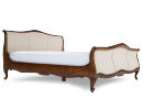 Double (4 ft 6) Fabric and Mahogany Bed Frame - Lyon