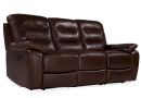 3 Seater Brown Leather Reclining Sofa - Navona