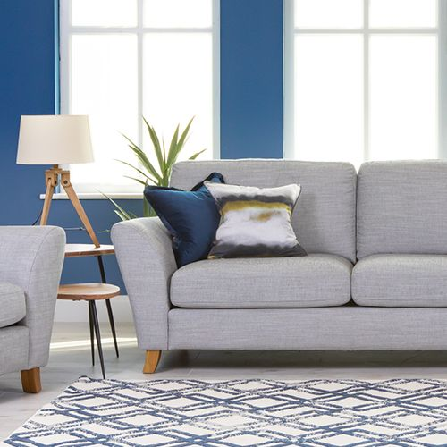 A lifestyle image of the Amelia Grey Sofa